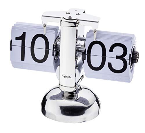Eichmüller since 1950 Retro Flip Uhr - Tischuhr - Silber weiß
