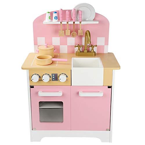 OUPAI Häuser für Modepuppen Spielküche aus Holz Spielzeug Graceful Kinderspielküche mit Herd, Backofen, Spülbecken und Zubehör Entwickelt for Kinder im Alter 3+