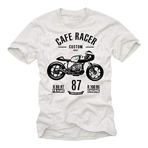 MAKAYA Camiseta para Hombre - Vintage Moto R80 - Regalos para Moteros Originales Blanco Talla M