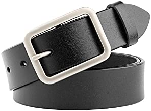 WHIPPY Jeans Belt for Women Genuine Leather Belt with Pin Buckle, Black, 1.3 Inches Wide, Suit Pant Size 25-29 Inches