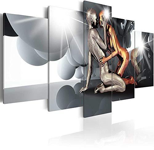 FBYSH Bild Auf Leinwand 5 Teilig Leinwand Modular Schwarzes graues sexy abstraktes Paar, das umarmt Bild Auf Leinwand 5 Teilig Leinwand Modular Dekoration Schlafzimmer Poster Leinw 200*100cm Rahmenlos