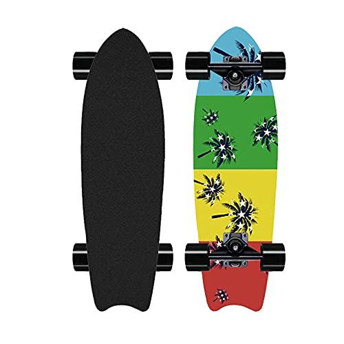Patineta de Talla Profesional de 28', patineta de Bombeo de Surf en la Calle, Tabla Completa de Crucero cóncavo para Principiantes, Arce de 8 Capas, rodamientos ABEC-11