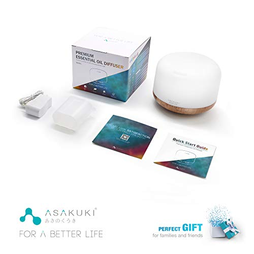 ASAKUKI 500ml Premium, Essential Oil Diffuser, 5 In 1 Ultrasonic Aromatherapy Fragrant Oil Humidifier Vaporizer, Timer and Auto-Off Safety Switch, 7 LED Light Colors