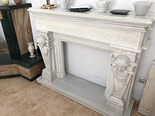 CANU CHIM.MÁRMOL Blanco.Chimenea de mármol Blanco con relieves de Diosas Egipcias Tallada a Mano. Acabado Pulido