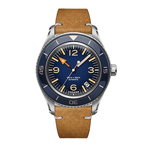 Undone Basecamp Classic Blau Vintage Automatik Stahl Braun Leder Herren Uhr