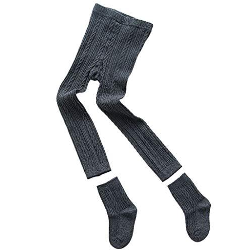 Junlinto Baby Kids Panty Legging Broek Sokken Set Geribbelde Effen Kleur Winter Warmer Katoen 1 M