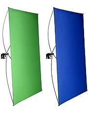 Neewer 39x55 Inches/100x140 CM Draagbaar 2-in-1 Chromakey Blauw/Groen Achtergrondscherm met 4 Flexibele Staven/Beugel/Draagtas voor Live Streaming, Studio en TikTok/YouTube/Gaming Video (Stand Niet Inbegrepen)