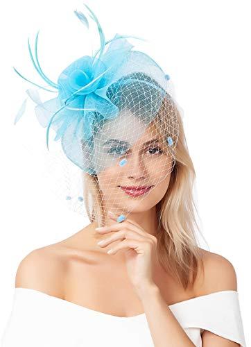 Fascinators for Women Wedding Veil Tea Party Hats Headband Kentucky Derby Headwear Cocktail Flower Mesh Feathers Hat Hair Clip for Women (Light Blue)