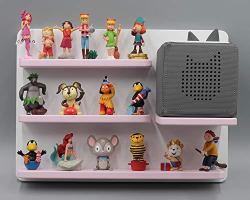 Kinder Regal für Toniebox Musikbox - Geeignet für Tonie Tonies ® - zum Aufhängen weiß rosa magnetisch - als Geschenk - tolle Geschenkidee zum Spielen und Sammeln…