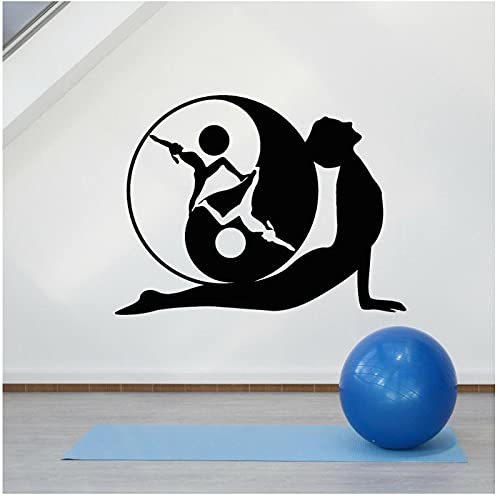 WYLYSD Calcomanía De Pared Yoga Pose Yin-Yang Símbolo Meditación Zen Pegatinas De Pared Para Decoración De Estudio De Yoga Mural Artístico 75X57Cm