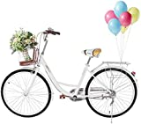 Boddenly 26' Women's Cruiser Bike with Front Basket, Classic Retro Bicycles Beach Cruiser Bike...