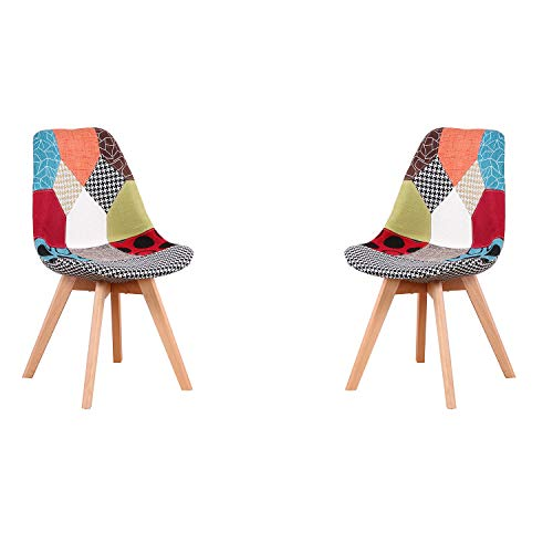 ArtDesign FR 2 x Retro Silla Patchwork Tela Comedor Sillas de Salón de Madera hogar Oficina Silla de Comedor, Rojo