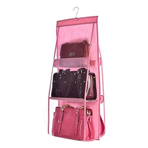 6 Pocket Hanging Bag Organizer Wardrobe Transparent Storage Bag for Handbag Closet Shoes Organizer Door Wall Sundries Pouch pink