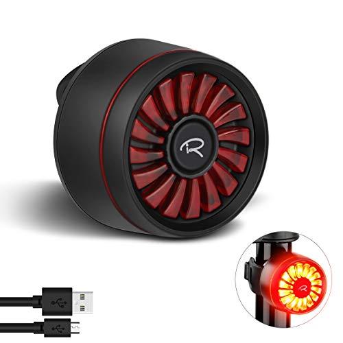 Ryaco Luce Posteriore per Bicicletta, Smart Brake LED USB Ricaricabile Avvertimento 5 modalità Luce Posteriore, IPX6 Luci LED per Bici Impermeabile per Qualsiasi Bici da Strada
