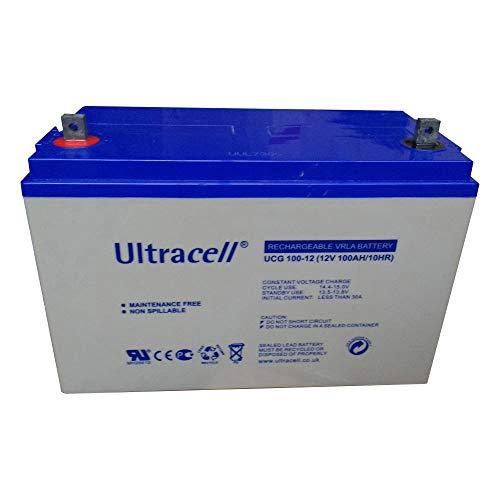 ULTRACELL Batería para autocaravanas de Gel Ciclo Profundo 100Ah (115Ah) a 10h (100h) 12V energía Solar