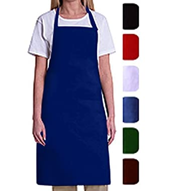Bib Aprons-MHF Aprons-1 Piece Pack-2 Waist Pockets- New Spun Poly-commercial Restaurant Kitchen-(Royal Blue)