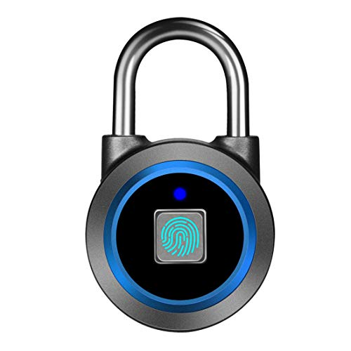 Fingerprint Padlock, Bluetooth Lock, Mobile APP, MEGAFEIS Smart Padlock with Keyless Biometric, Water Resistant, Suitable for Gym, Sports, Bike, School, Fence and Storage(Blue)