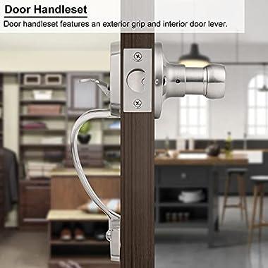 Single Cylinder Handleset with Lever Handle for Interior Doors, Contemporary Hardware Single Cylinder Deadbolt Handle Set Sat