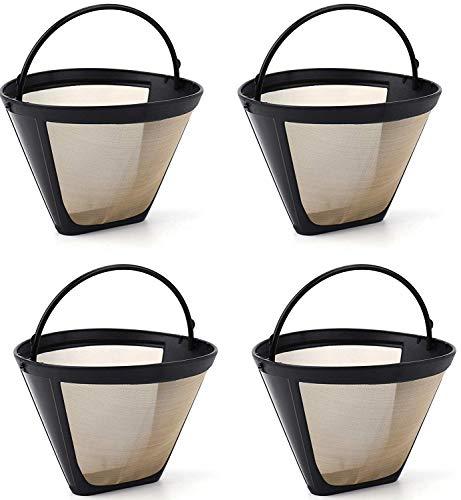Lawei 4 Stück Kaffeefilter Wiederverwendbar Nr.4 Dauerkaffeefilter mit Edelstahlgewebe für Kaffee Tee, Braun