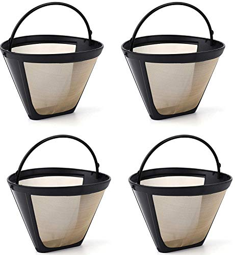Lawei 4 Stück Kafeefilter Wiederverwendbar Nr.4 Dauerkaffeefilter mit Edelstahlgewebe für Kaffee Tee, Braun