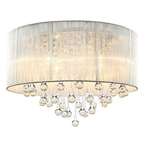CARYS Kronleuchter Modern Kristall Deckenleuchte Rund Weiss Rustikale Deckenlampe Wohnzimmer Lüster Schlafzimmer Stoff Lampe Lampenschirm - 4 x E14 Leuchtmittel Kinderzimmer