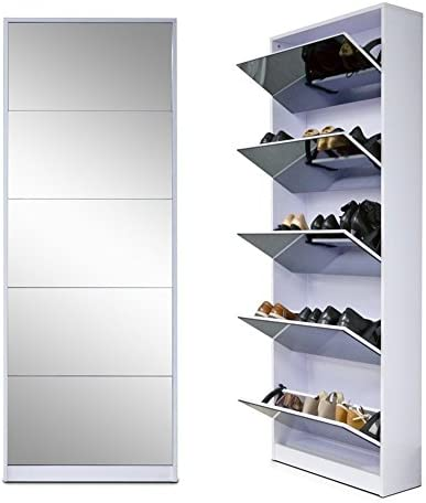 Organizedlife White Wooden Shoe Cabinet Mirror Shoe Organizer with with 5 Racks product image