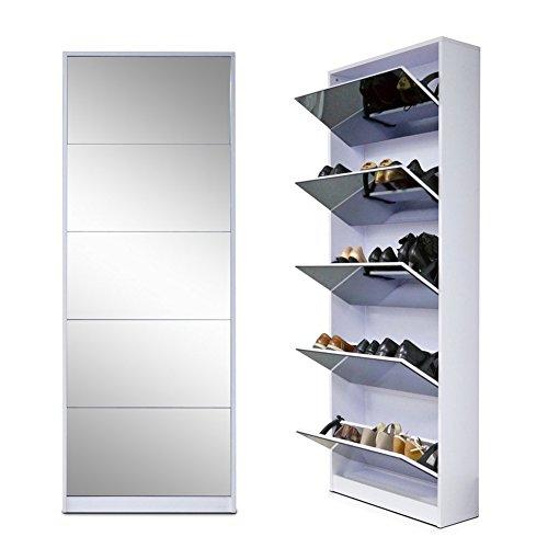 Organizedlife White Wooden Shoe Cabinet Mirror Shoe Organizer with with 5 Racks
