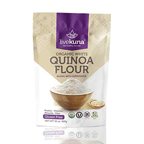 Livekuna Premium Organic Quinoa Flour | 100% Natural Non-GMO Quinoa Flour | Rich In Protein & Fiber | Gluten-Free All-Purpose Wheat Flour Alternative For Baking, Cooking, Keto & Paleo Diets | 32 oz