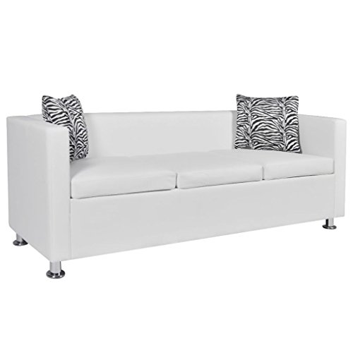 vidaXL Sofa 3-Seater Living Room Relaxing Seating Sleeper Lounge Couch Day Bed Furniture Artificial Leather White