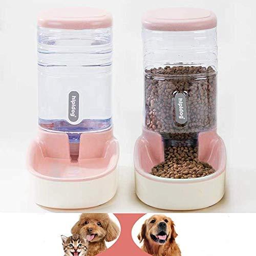 XXL Automatischer Futterspender,Haustier Futterautomat,Futter und Wasserspender,Hund Schüssel,Automatik für Hund Katze im Set,jeweils 3.8 L,pink