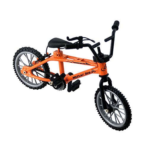 Sanmubo Trade 4.3' Mini Bike Alloy Finger Bikes Functional Finger Mountain Bike Novelty Miniature Metal Toys Game Creative Game Toy for Kids Boys Girls - Yellow