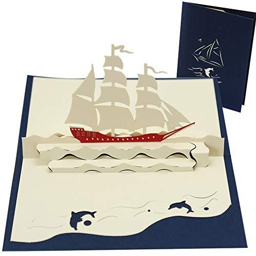Gutschein oder Geburtstagskarte mit 3D Pop up Segelboot, BESLIME Yacht Reisegutschein Boot Ausgefallener Reisegutschein zum Segeln, Segelreise|Geschenkidee zu Geburtstag
