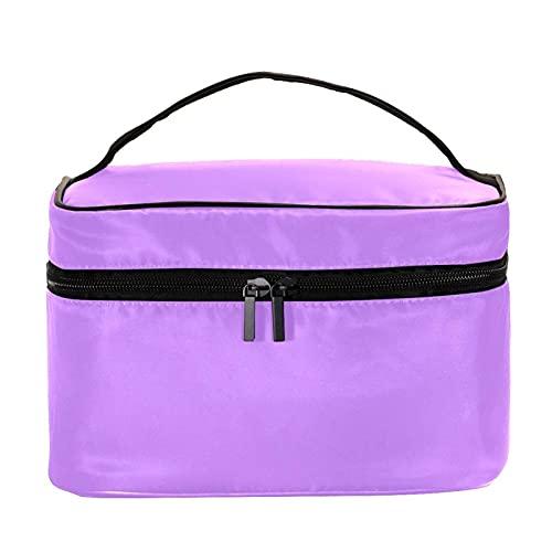 Bolsa de maquillaje de viaje de color morado grande bolsa de maquillaje organizador con cremallera para mujeres y niñas