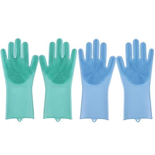Geschirrhandschuhe, 2 Paar Silikon Spülhandschuhe mit Wash Scrubber, Waschhandschuh Silikon Handschuhe Reinigunghandschuhe für Küche Abwasch (Grün, Blau)