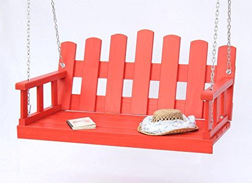 DanDiBo Hängebank Holz Rot Schaukelbank mit Ketten und Auflage Schaukel Gartenschaukel Hollywoodschaukel