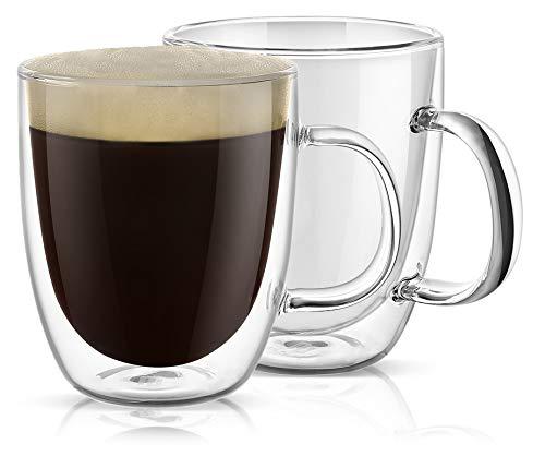 PunPun Large Clear Coffee Mugs Set of 2, Jumbo Mugs Double Wall Insulated Glass Mugs, Lead Free Unique Glass Coffee Mugs Each 500ml (17 oz), Lead Free Hand Made