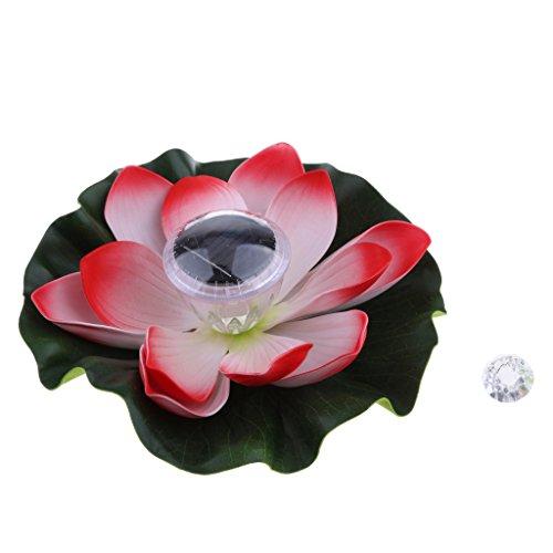 perfk Solarbetriebene Lotusblume, Die Lampe Schwimmendes Wasser Licht Chinesische Laterne Wünscht