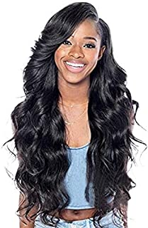 BARSDAR 27 Inches Natural Black Long Curly Wavy Wig Rose Net Full Head Wigs for Women Side Part Heat Resistant Synthetic Wigs with Light Bangs (8031)