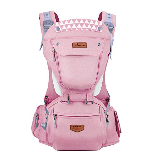 Image of the SUNVENO Baby Hipseat Ergonomic Baby Carrier Soft Cotton 3in1 Safety Infant Newborn Hip Seat for Outdoor Travel 6-36 Months (Pink)