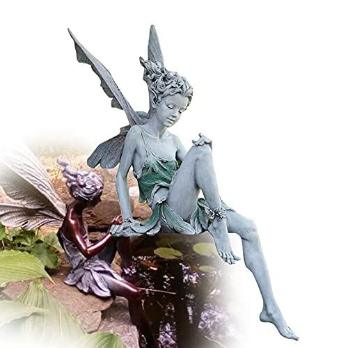 Hilai Elfen Figur, Fee Statue, Statue Fairy Garden Ornament 18cm hoch Fee Figurine Harz-Fertigkeit-Dekoration für das Studium Wohnzimmer Yard Weiß