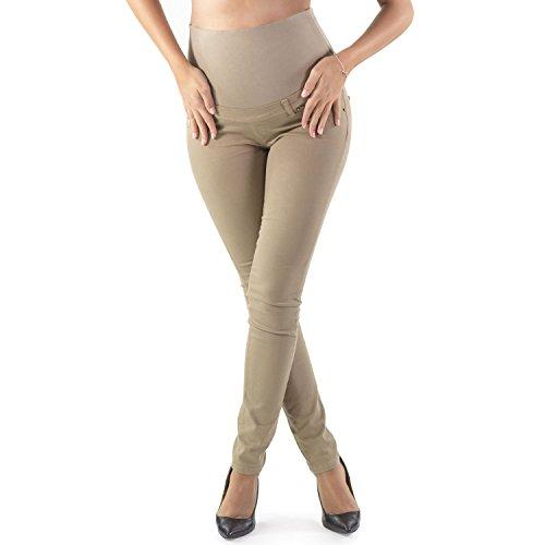 Pantalón Premamá Corte Slim Impecable, Material Elástico y Suave - Made in Italy (46, Beige)