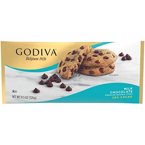 Godiva Milk Chocolate Premium Baking Chips (11 oz Bags, Pack of 12)