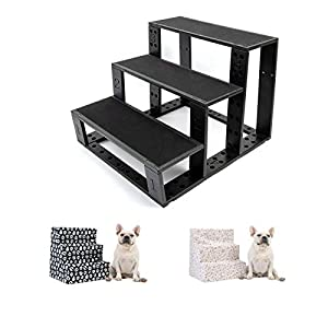CuteBone Folding Dog Stairs Lightweight Pet Steps Sturdy Cat Ramp with 2-Pack Machine Washable Covers for High Beds, Couch and Sofa, Easy to Assemble GTJ01