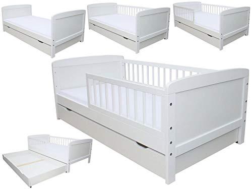 Kinderbett Juniorbett 160x70cm mit Matratze und Schublade weiss