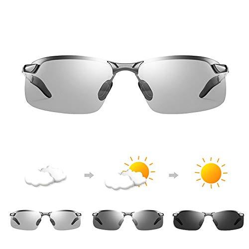 Bseack Gafas de Sol Gafas de Sol for Hombres adaptativa día y Noche Fotocromáticas Gafas de Sol polarizadas Universal con Templos autoajustable for la Pesca Drive (Color : Gun Color Frame)