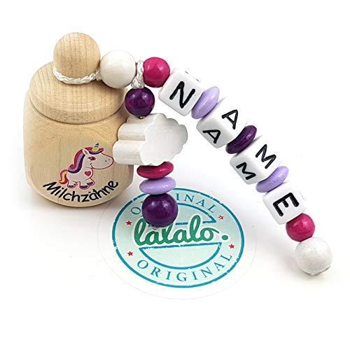 """LALALO Holz Zahndose mit Namen, Taufgeschenk, Zahnbox Milchzähne Box Gravur, Milchzahndose Zahndöschen personalisiert (Aufdruck""""Milchzähne"""" + Einhorn, Motivperle Wolke, Pink Lila)"""