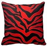Funda de cojn Estampado de cebra rojo y negro Rayas Animal Print Funda de Almohada con Cremallera para Decoracin del Hogar Sof Coche Oficina 45x45cm