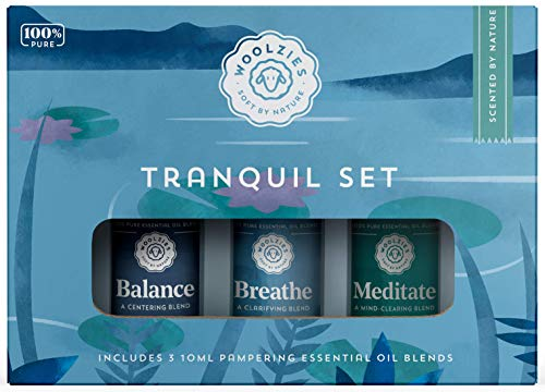 Woolzies 100% Pure & Natural Tranquil Essential Oil Set | Incl. Meditate, Balance, Breathe Blend | Promotes Grounding, Relaxing, Tranquility, Ease Anxious Feeling, Relieve Stress | Diffuse/Skin
