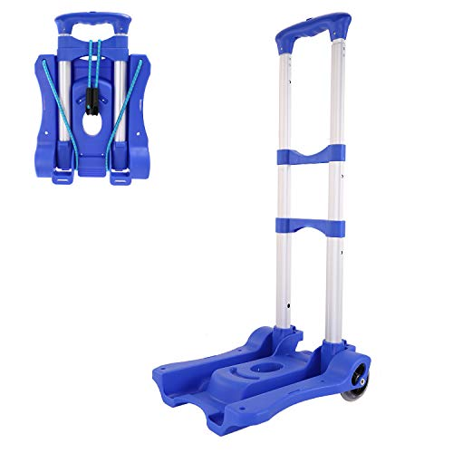 Luggage Cart Folding Compact Lightweight Portable Aluminum Alloy Luggage Carriers with Wheels Hand Truck with Bungee Cord(80LB) Blue