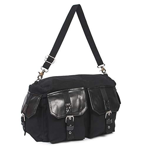 Handtasche, Bag, Gothic, Rock, Metal, Punk, Heavy, Dark, Military, Schwarz, Handtasche mit Schnallen, Canvas